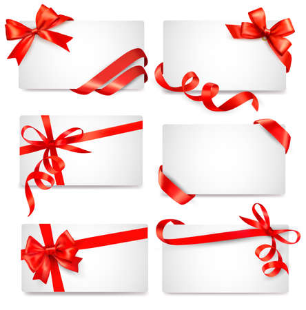 gift shop: Set of card notes with red gift bows with ribbons