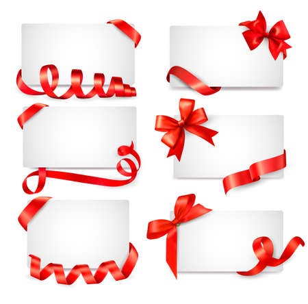 Set of card notes with red gift bows with ribbons