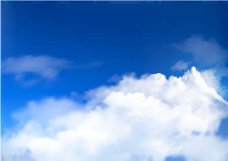 sky blue: Blue sky with clouds and sun  Illustration