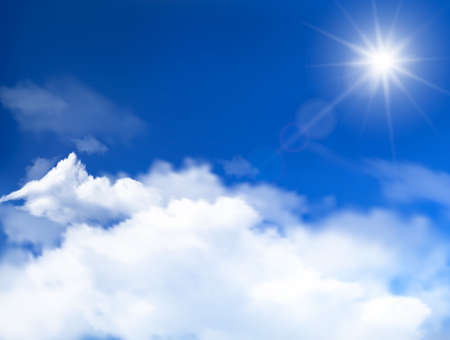 stratosphere: Blue sky with clouds and sun  Illustration