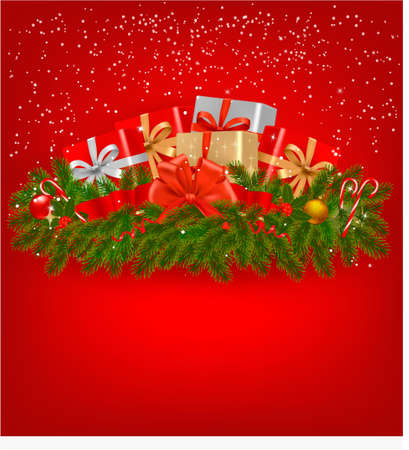 Christmas background with presents and a red ribbon  Stock Vector - 15706668
