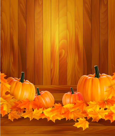Pumpkins on wooden background with leaves Vector
