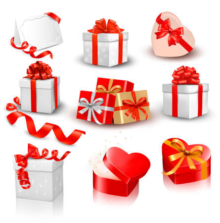 present:  Set of colorful gift boxes with bows and ribbons.