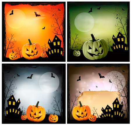 Four Halloween backgrounds Stock Vector - 15805703