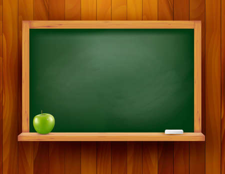 chalk board: Blackboard with green apple on wooden background