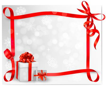 anniversary sale:  Holiday background with red gift bow with gift boxes