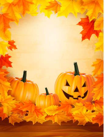 boom halloween: Pompoen achtergrond met bladeren Halloween achtergrond Stock Illustratie