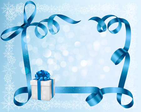 blue bow: Holiday background with blue gift bow with gift boxes  illustration  Illustration