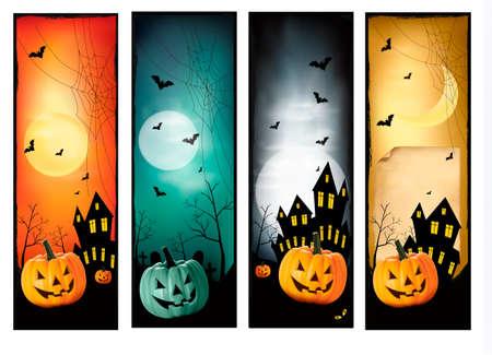 Four Halloween banners Stock Vector - 15957181