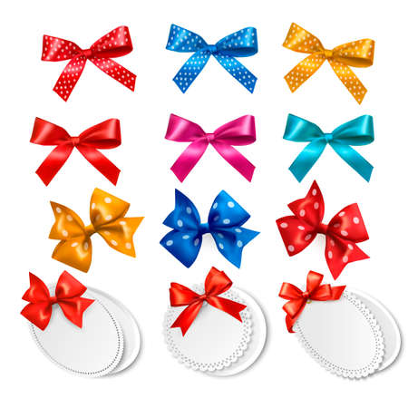 Big collection of colorful gift bows and labels  illustration Ilustracja