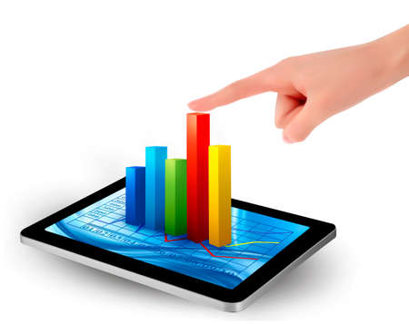 bar graph: Tablet screen with graph and a hand