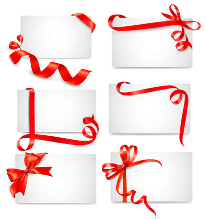 Set of beautiful cards with red gift bows with ribbons  Ilustracja