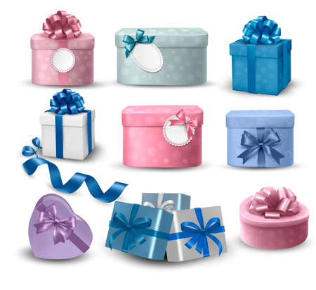 birthday present:  Set of colorful gift boxes with bows and ribbons  Illustration