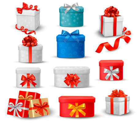 blue box:  Set of colorful gift boxes with bows and ribbons  Illustration