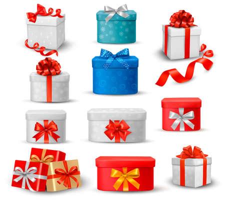 pr�sentieren: Set von bunten Geschenk-Boxen mit B�gen und B�nder Illustration