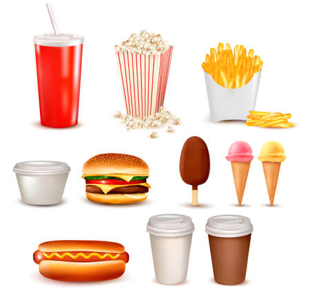 eating fast food: Grupo grande de comida r�pida ilustraci�n productos