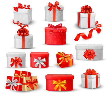 ribbon bow:  Set of colorful gift boxes with bows and ribbons  Illustration