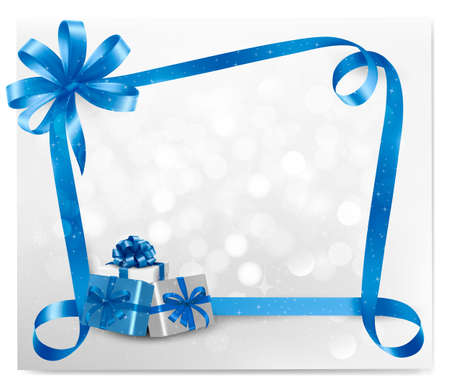 Holiday background with blue gift bow with gift boxes  illustration  Illustration
