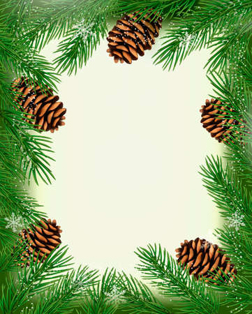 Frame made of christmas tree branches with pine cones Stock Vector - 16233703