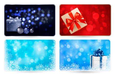 Set of cards with Christmas gift boxes,balls and snowflakes  illustration Stock Vector - 16233697