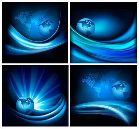 blue flame:  business elegant abstract background with globe