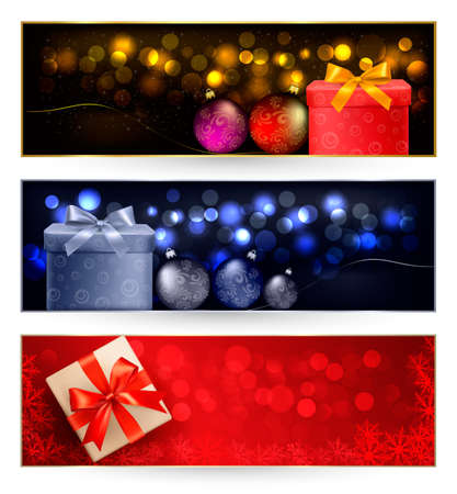 Set of winter christmas banners   illustration Stock Vector - 16233666