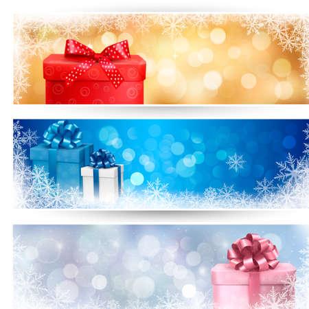 blue gift box: Set of winter christmas banners   illustration