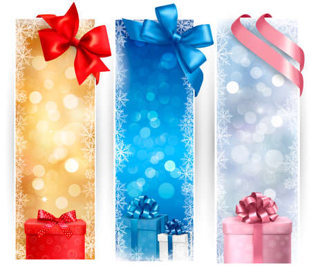 Set of winter christmas banners   illustration Vector