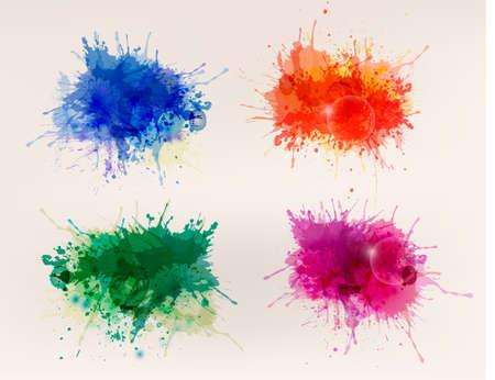 カラフルな抽象的な水彩画の背景のコレクション  イラスト・ベクター素材