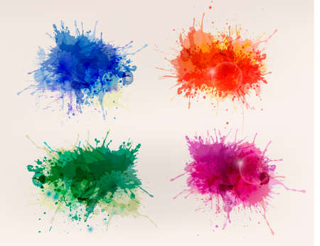 splatter paint: Collection of colorful abstract watercolor backgrounds
