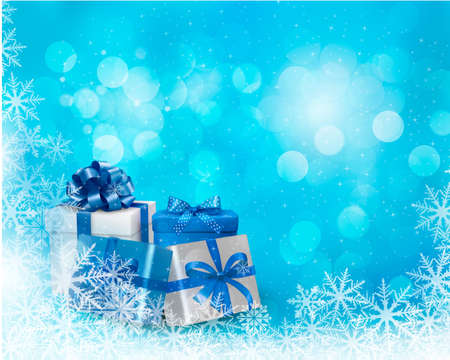 desember: Christmas blue background with gift box and snowflake.  Illustration