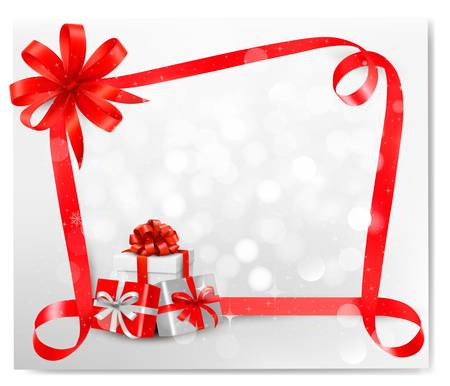 Holiday background with red gift bow and gift boxes.