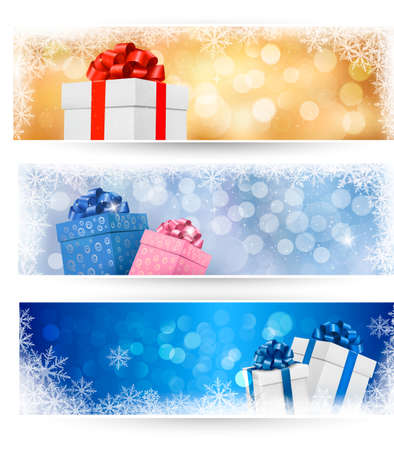 desember: Set of winter christmas banners with gift boxes and snowflakes  Vector illustration