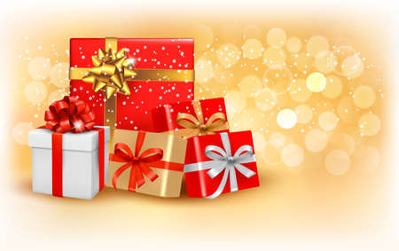 Christmas gold background with gift box and snowflake  Vector illustration Stock Vector - 16387413