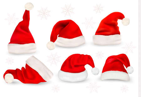 red hat: Big collection of red santa hats  Vector