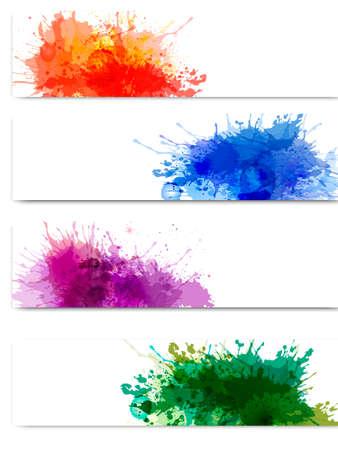 de cor: Coleção de bandeiras coloridas do abstrato da aguarela. Vetor Ilustração