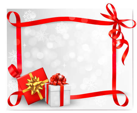 christmas backgrounds: Holiday background with red gift bow with gift boxes. Vector illustration.