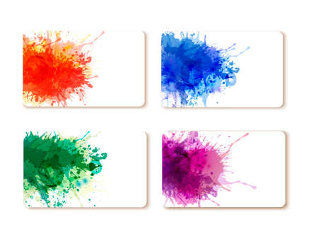 Collection of colorful abstract watercolor banners. Vector Vector