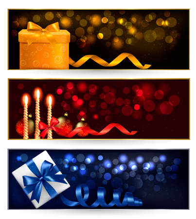 desember: Set of winter christmas banners with gift boxes and snowflakes. Vector illustration