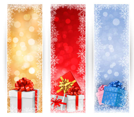 Three christmas banners with gift boxes and snowflakes. Vector illustration. Stock Vector - 16387416