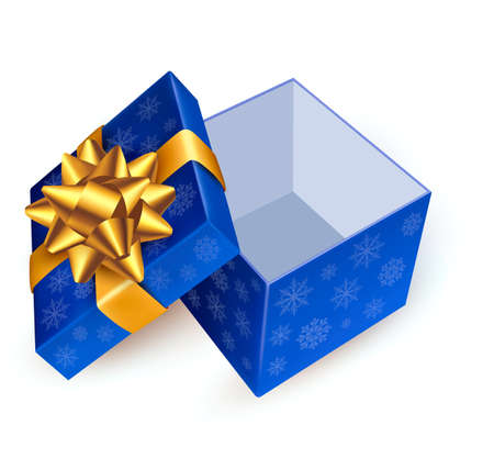 Opened blue gift box with golden ribbon. Vector illustration. Stock Vector - 16462254