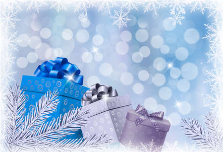 Christmas blue background with gift boxes and snowflake. Vector illustration.  Stock Vector - 16462269