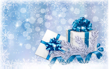 desember: Christmas blue background with gift boxes and snowflake. Vector illustration.