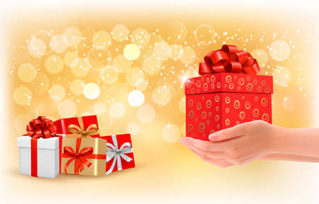 Christmas background with gift boxes. Concept of giving presents. Vector. Vector