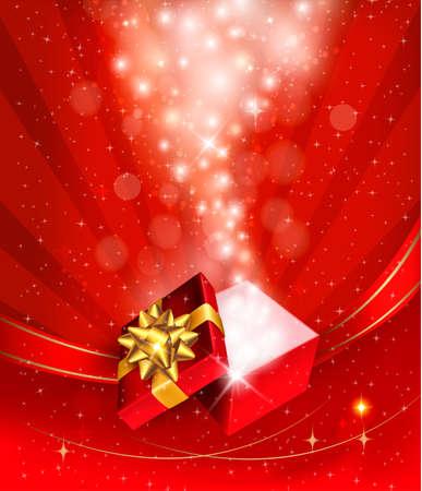 Fond de Noël avec boîte-cadeau ouvert. Vecteur.