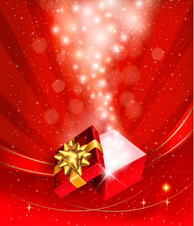 light box: Christmas background with open gift box. Vector. Illustration