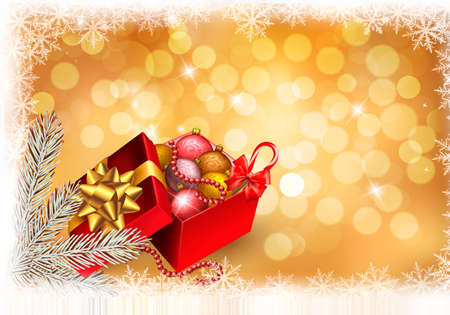 Christmas background with open gift box with presents. Vector. Vector