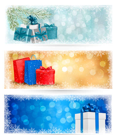 desember: Three christmas banners with gift boxes and snowflakes. Vector illustration