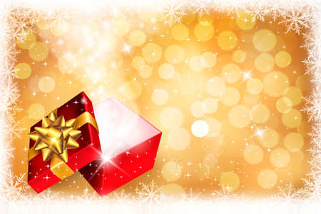 Christmas background with open gift box. Vector. Vector