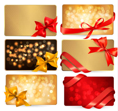 Set of beautiful gif cards with red gift bows with ribbons Vector  Illustration